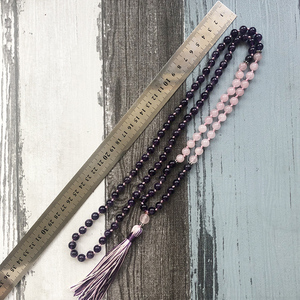 Image 5 - Amethysts Rose Q uartz 108 Mala Necklace Knotted Tassel Jewelry Yoga Gift For Womens Mala Beads Necklace Spiritual Boho Jewelry