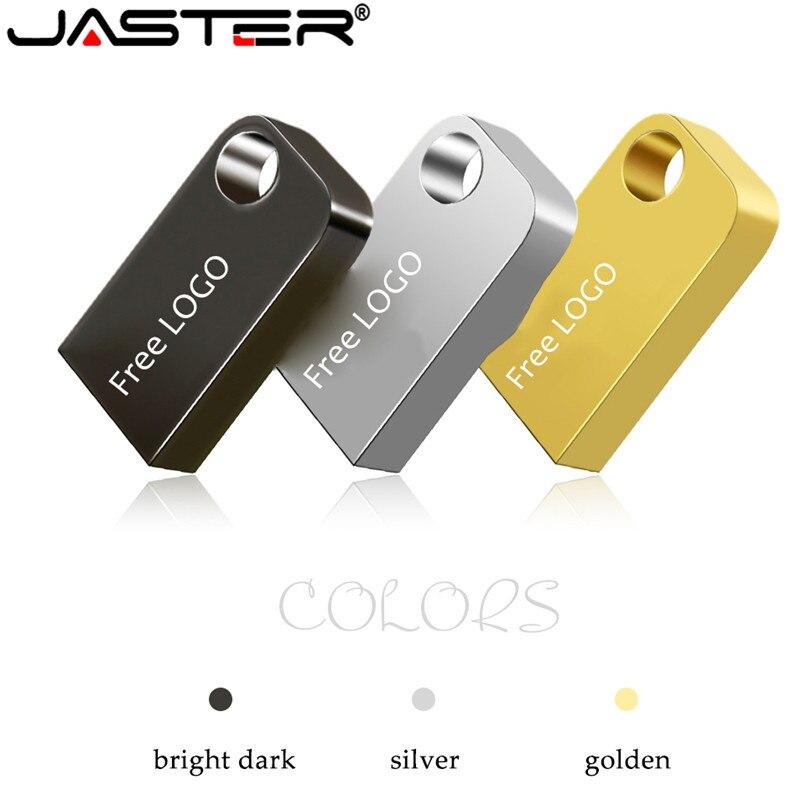 JASTER New Mini Metal High Speed USB Pen Drive Flash Drive 4GB 16GB 32GB 64GB USB Stick Waterproof Flash Usb Drive Wedding Gifts
