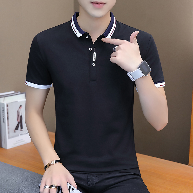 BROWON 2021 summer casual polo shirt men short sleeve turn down collar slim fit sold color polo shirt for men plus size 5