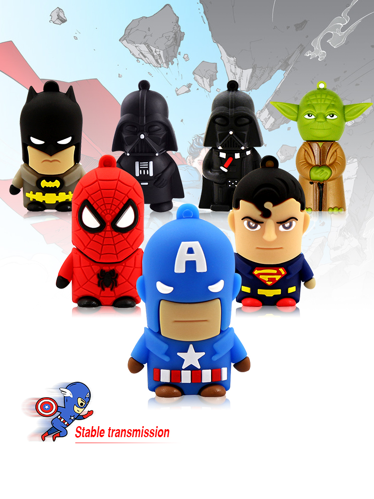 Cartoon E26 Usb Flash Drive 32GB 8GB Cheap Pendrive Memory Disk USB 2.0 Hero Spiderman Funny Pen Drive 64 Gb Mini USb 16gb 128GB