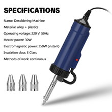 New Desoldering Machine ADT03 Automatic Portable Electric Solder Tin Sucker Vacuum Soldering Remove Pump with 3 Suction Nozzle
