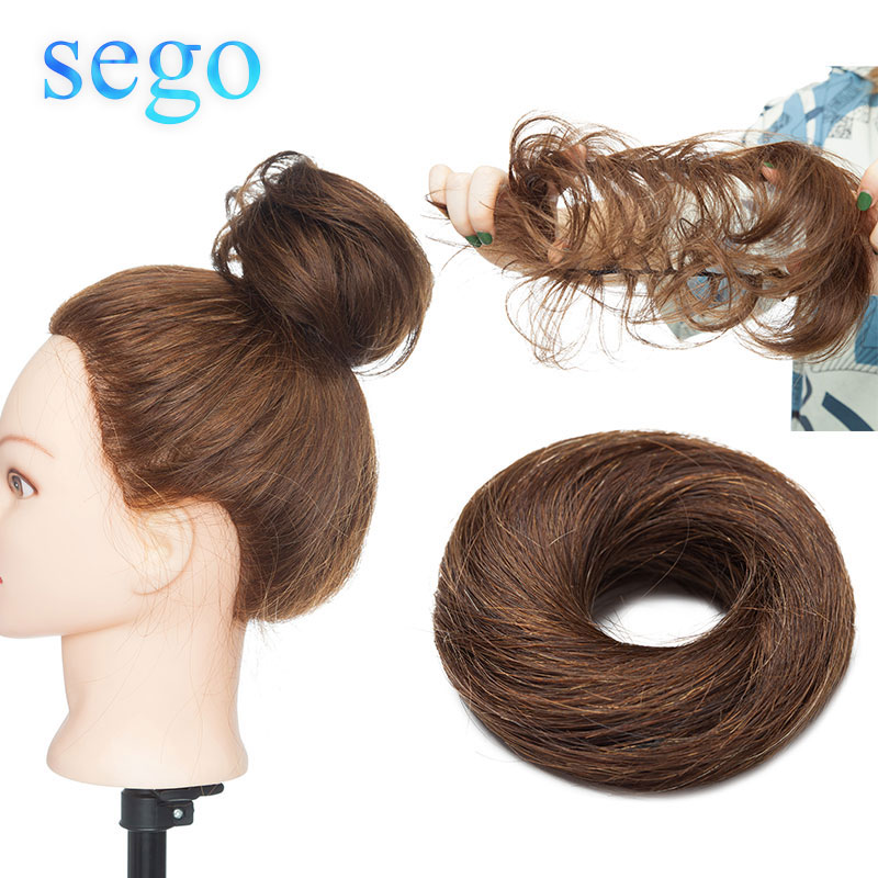 Sego European Human Hair Non-Remy Rubber Band Chignon 23g Black Brown Natural Dount Chignon 6 Colors 100% Human Hair Pure Color