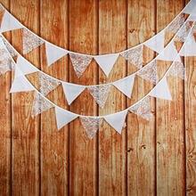 Bandeira bandeira guirlanda 12 bandeiras 3.2m tecido de algodão de renda branca bunting flâmula casamento/aniversário/bebê mostrar festa acessório decorativo