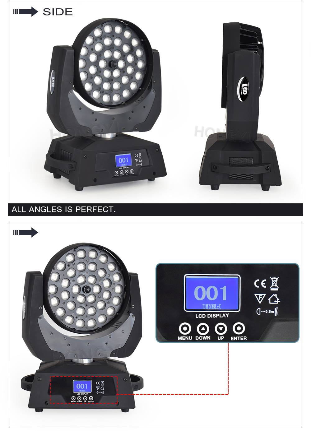 Cabeça movente zoom led feixes 36x18 w