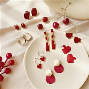 AOMU-2020-Fashion-New-Red-Love-Heart-Earrings-Geometric-Enamel-Long-Tassel-Drop-Earrings-for-Women