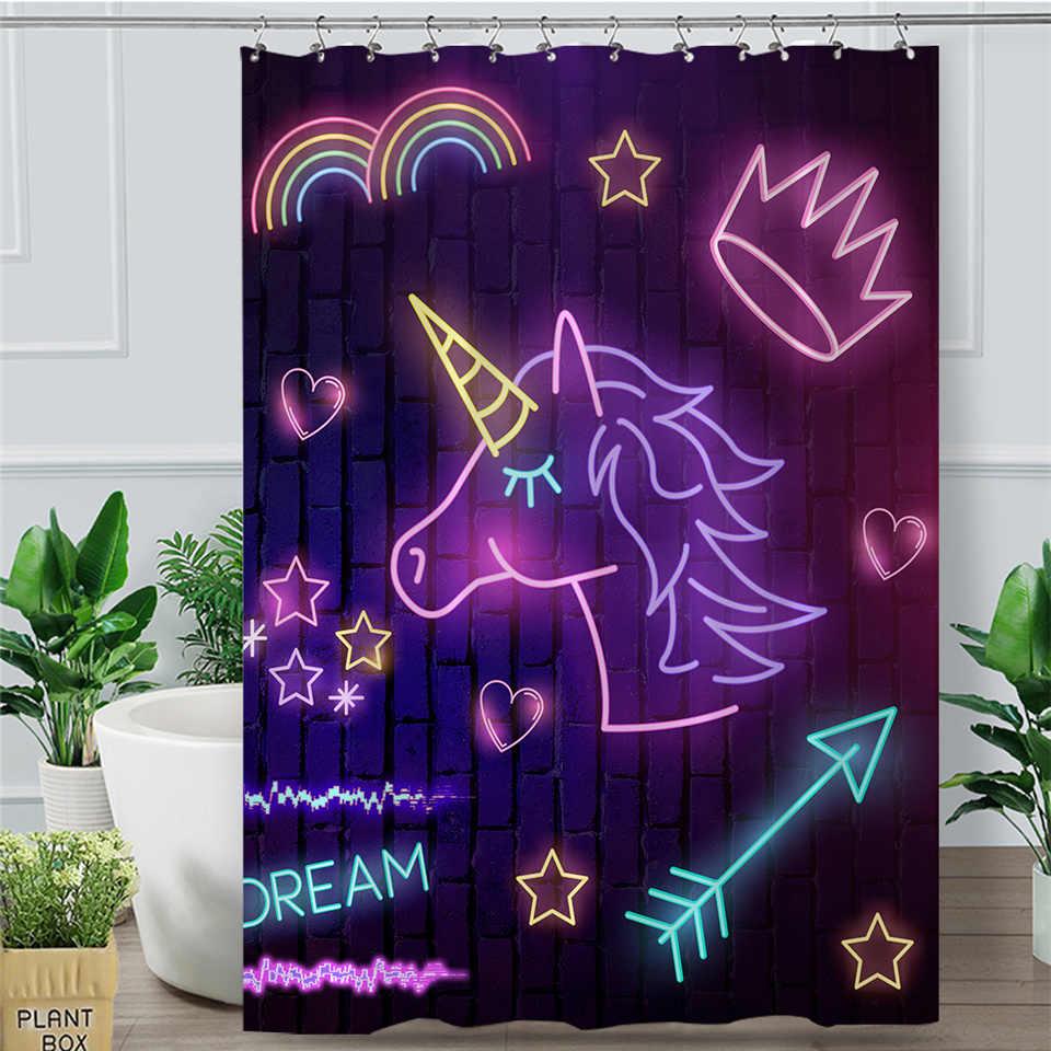 Blesslive Фиолетовый единорог для ванной занавеска s светящаяся занавеска с крючками для ванной красочный Радужный неоновый свет Корона занавеска для душа