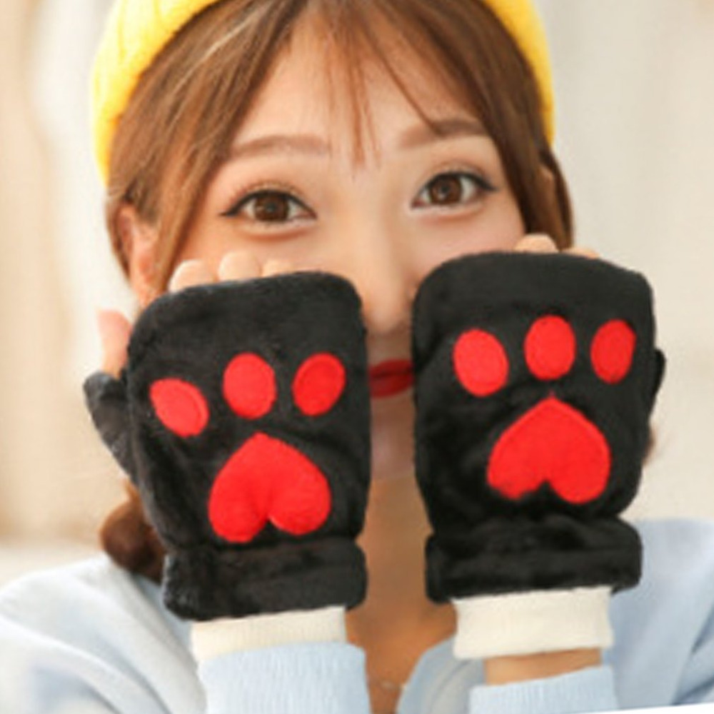 2017 Woman Winter Lovely Warm Cashmere Girl Sweet Cute Bear Plush Claw Footprint Paw Soft Thermal Fingerless Half Gloves Mittens