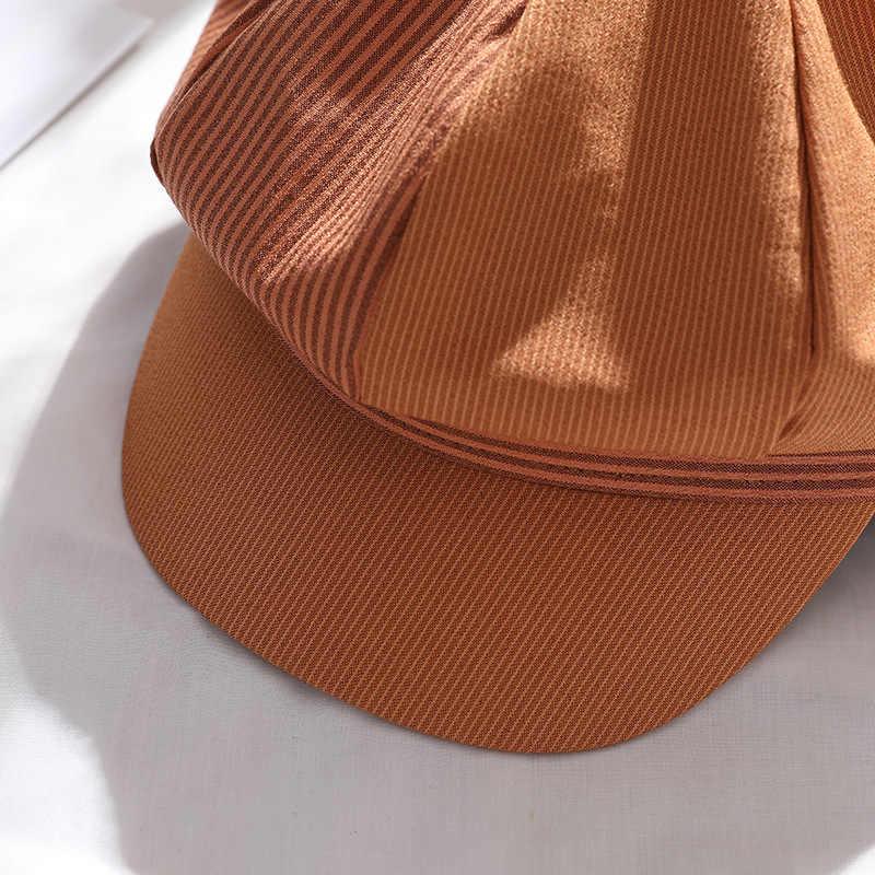 Mùa Thu Nữ Cotton Mũ Nồi Mùa Đông Hình Bát Giác Mũ Nồi Mũ Sọc Phong Cách Nghệ Sĩ Họa Sĩ Newsboy Nón Xanh Dương Xám Mũ Nồi Nón