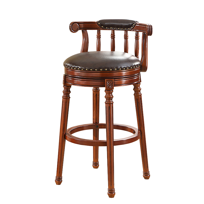 Nordic High Stool Bar Solid Wood Bar Stool Bar Stool Home Backrest Bench Stool Commercial High Seat