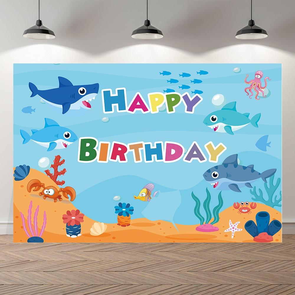 Студийный фон для фотосъемки с изображением подводного мира Акулы ребенка русалки дня рождения