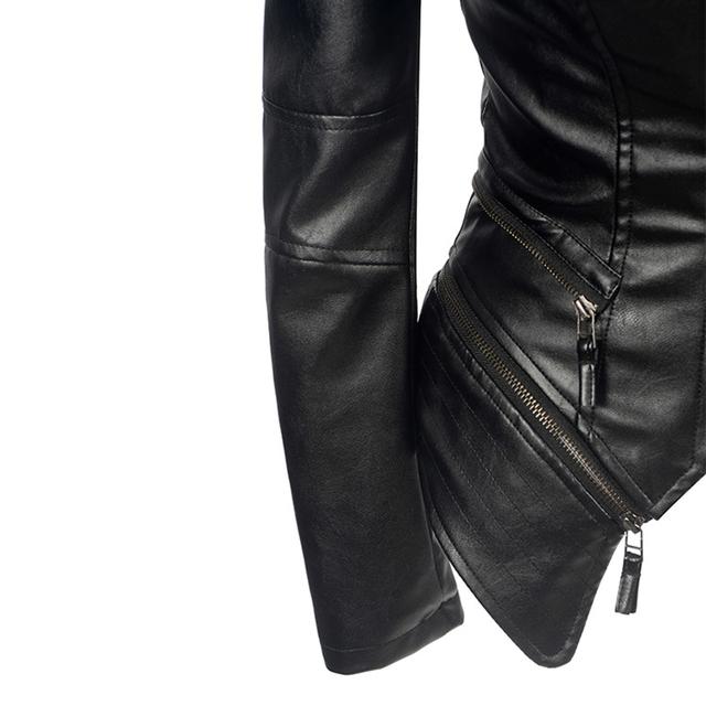 Women Spring Faux Leather PU Jacket Coat Black Fashion Motorcycle Goth Jacket 2020 New Outerwear Punk Gothic Faux Leather Coats