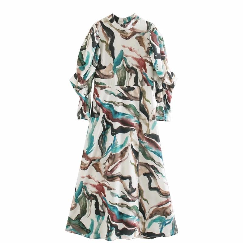 New Women vintage stand collar graffiti printing casual midi dress ladies puff sleeve back zipper vestidos chic Dresses DS3277
