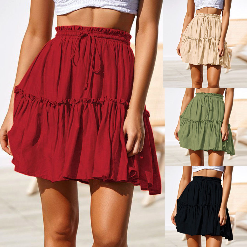 Ladies Summer Casual Solid Ruffles A Line Pleated Short Mini SKirt Fashion Lace Up Skirts Women Faldas Mujer Moda Ropa Mujer