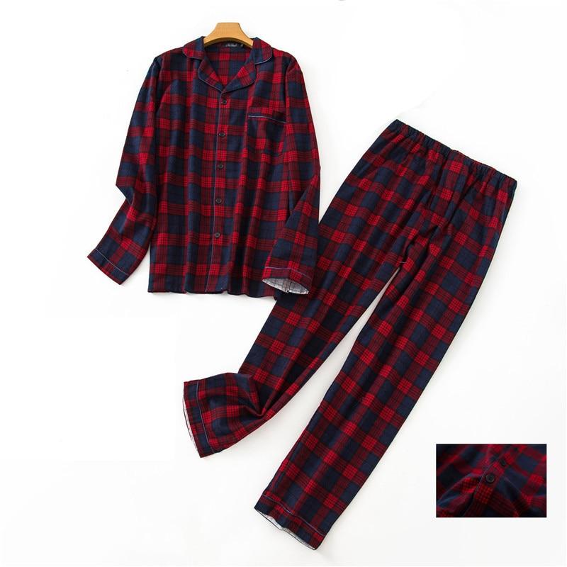 Autumn winter cotton lattice pajamas men Loose casual pajamas suit night sleepwear clothes