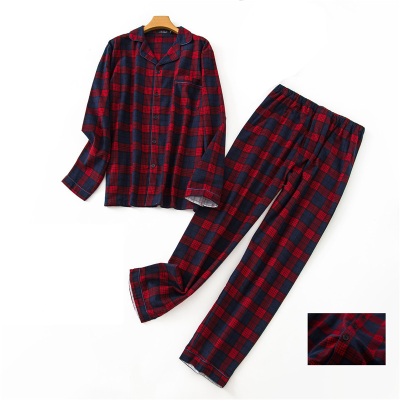 Autumn Winter Cotton Lattice Pajamas Men Loose Casual Pajamas Suit Night Sleepwear Clothes