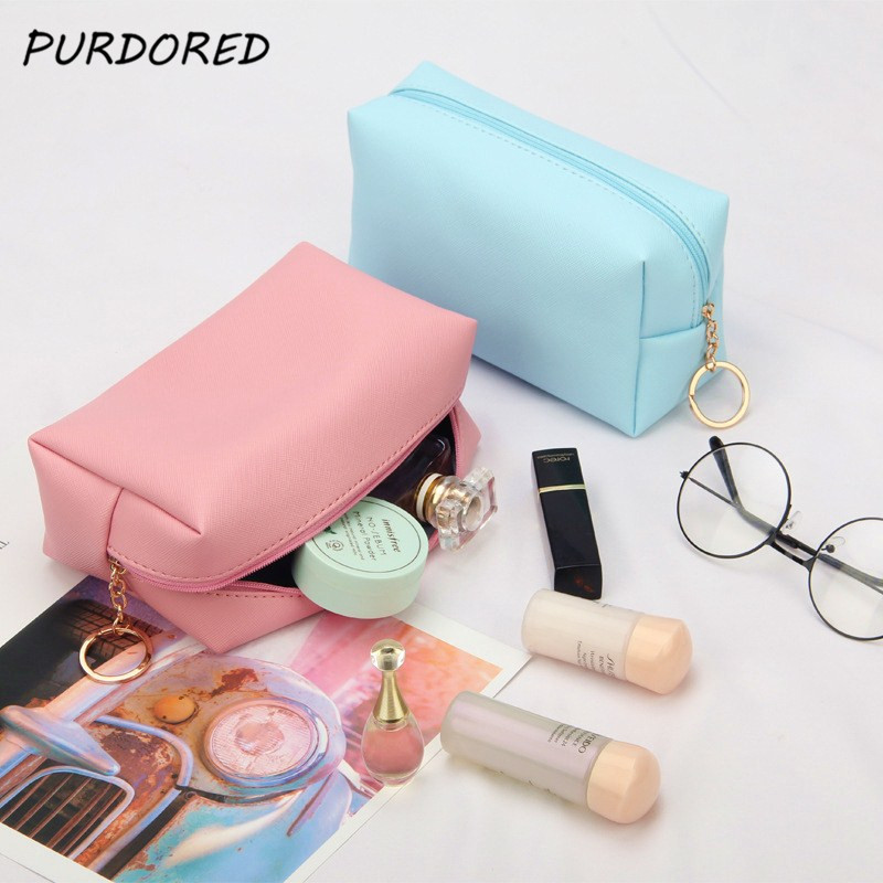 PURDORED 1 Pc Solid Cosmetic Bag For Women Leather Travel Makeup Bag Organizer Toiletries Solid Female Storage Make Up Bag Case