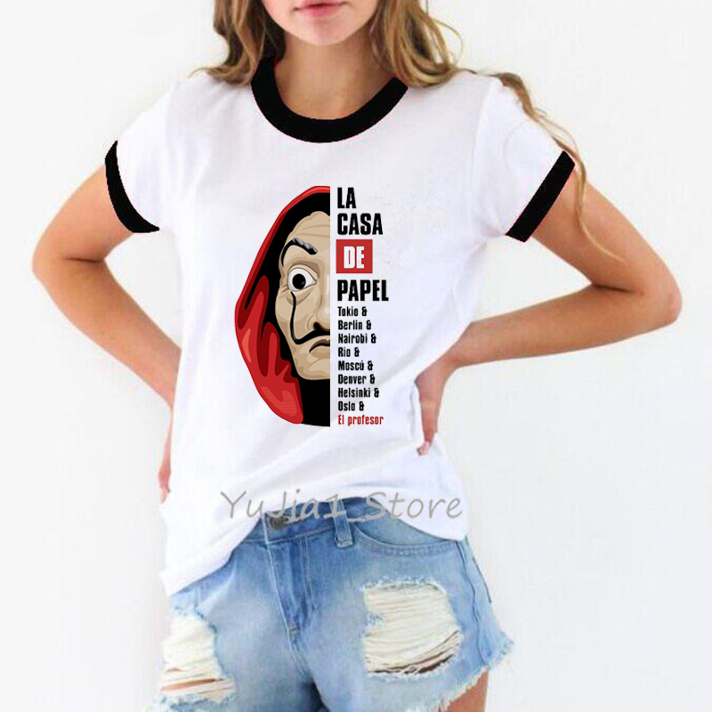 Забавная Футболка женская одежда 2019 в интернет-магазине La Casa De Papel футболка femme деньги Heist футболки ТВ серии женская футболка House of Paper tee