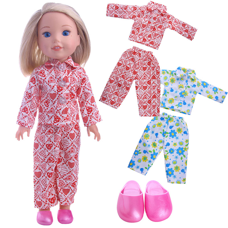 Doll Clothes Red Love & Blue Flower Pajamas For 14.5 Inch Wellie Wishers Doll & 38 Cm-40 Cm Nancy Doll