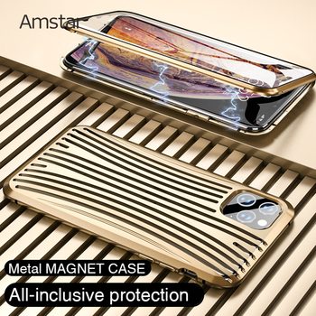 Amstar Full Metal Magnetic Attraction Protective Case for iPhone 11 Pro Max X XR XS SE 7 8 Plus 9H Tempered Glass Metal Cover
