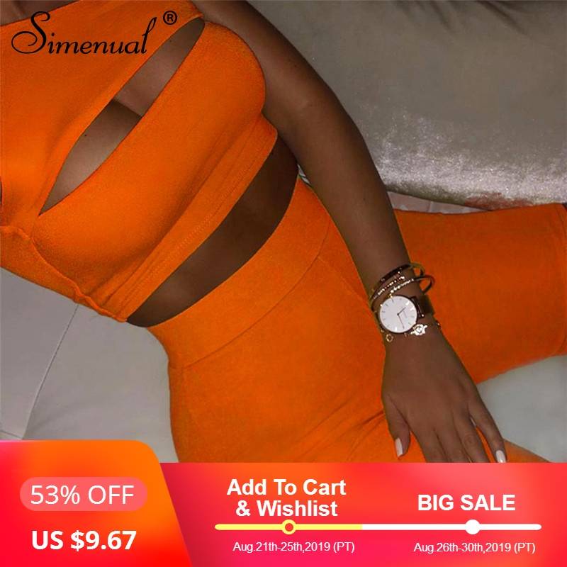 simenual-neon-color-women-two-piece-set-one-shoulder-casual-tracksuits-cut-out-crop-top-and-biker-shorts-sets-sporty-active-wear