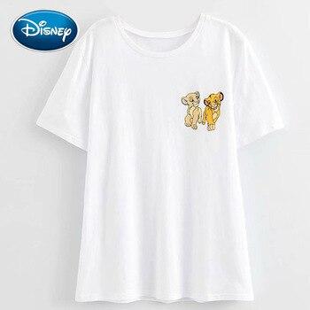 цена Disney Stylish The Lion King King of the Jungle Mickey Mouse Cartoon Print Women T-Shirt O-Neck Pullover Short Sleeve Tee Tops онлайн в 2017 году