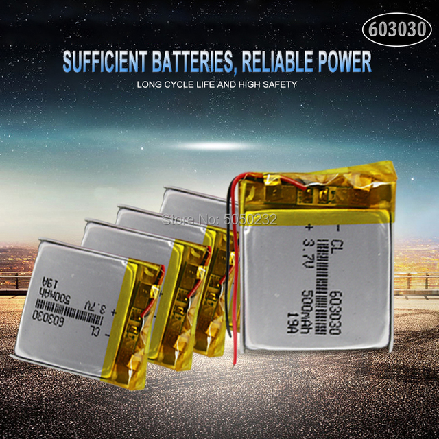 1pc 3.7V 500mAh 603030 Lithium Polymer Li-Po li ion Rechargeable Battery For toys speaker Tachograph MP3 MP4 GPS