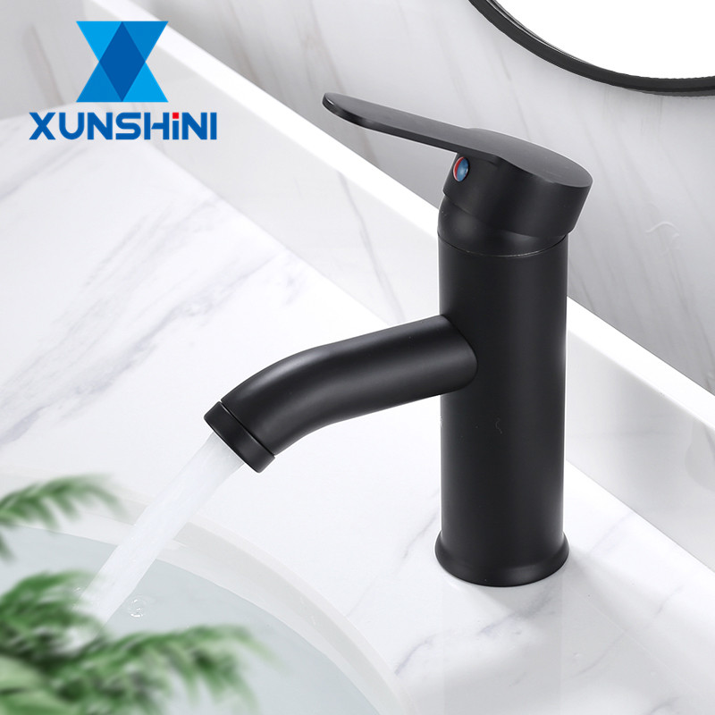 XUNSHINI Stainless Steel Basin Faucets Matt Black Bathroom Sink Washbasin Tap Single Hole Hot&Cold Water Mixer Tap