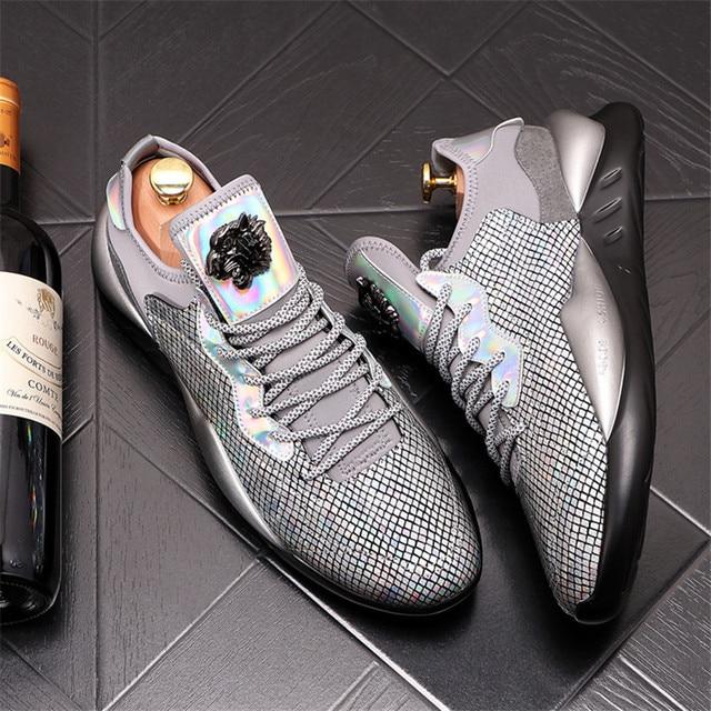 Zapatos informales con plataforma para Hombre, Zapatillas de deporte de cuero, con aumento de altura, estilo Hip hop, color dorado y plateado 5