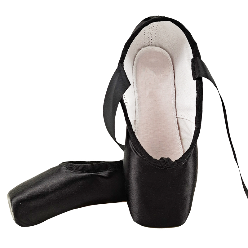 Nova pointe cetim superior com fita das meninas rosa sapatos de balé profissional sapatos de dança com toe pads Sapatos de dança    -