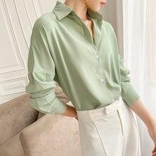 Женская однотонная блузка с отложным воротником однобортная