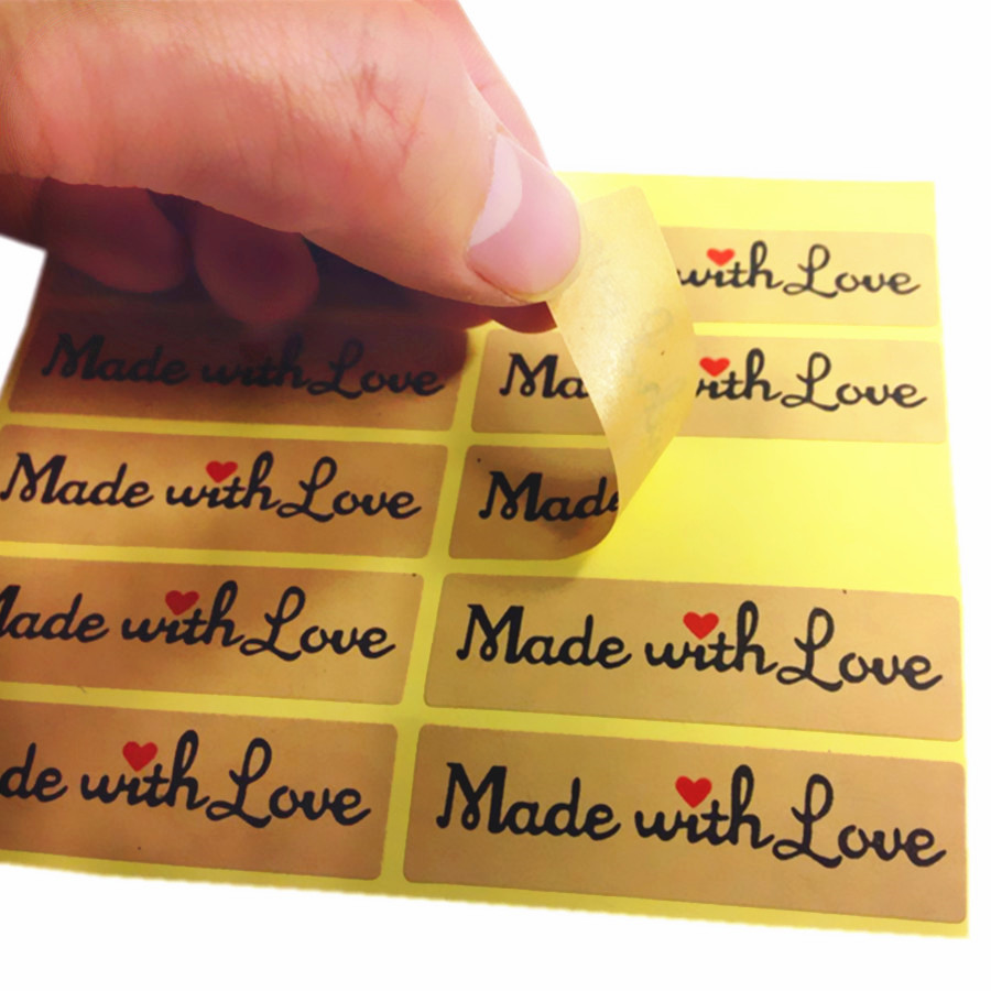 100pcs/pack Made With Love Leather Rectangular Sealing Sticker Decoration Packaging Cake Baking Stickers