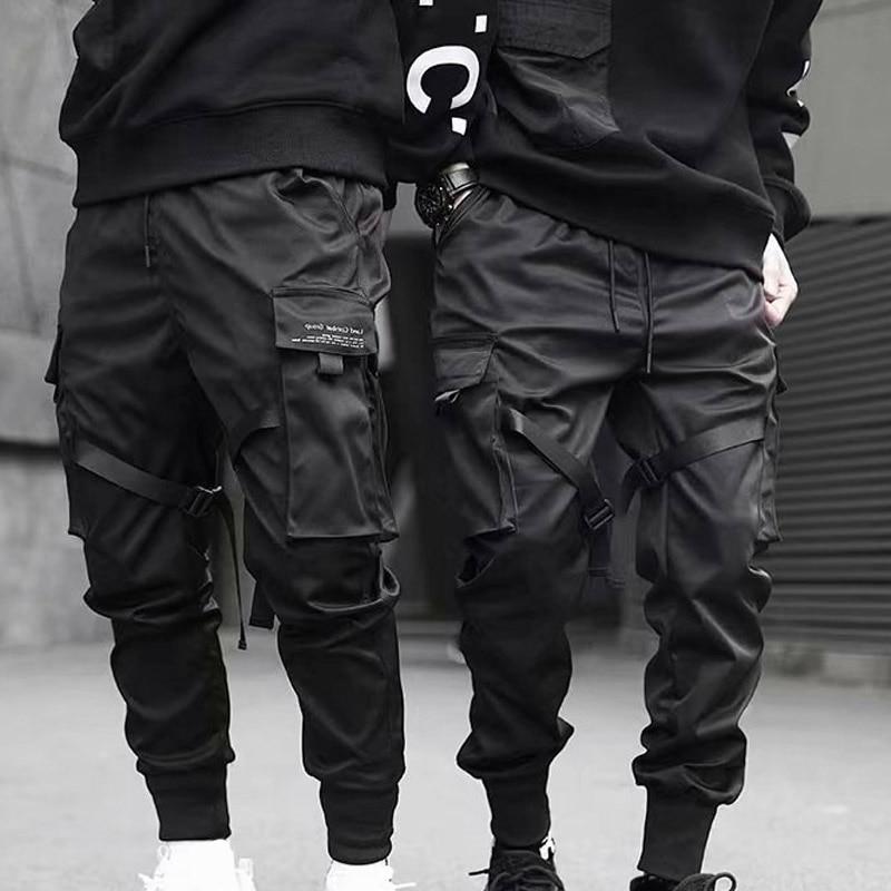 Men Cargo Pants Ribbons Harem Joggers Harajuku Sweatpant Hip Hop Trousers GDD99
