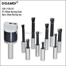 1set C20 C25 F1 CNC Tool Holder 50 mm 2 Inch Fine-Tuning Boring Head 9 Pieces 12mm Boring bar Boring Device For Milling Machine