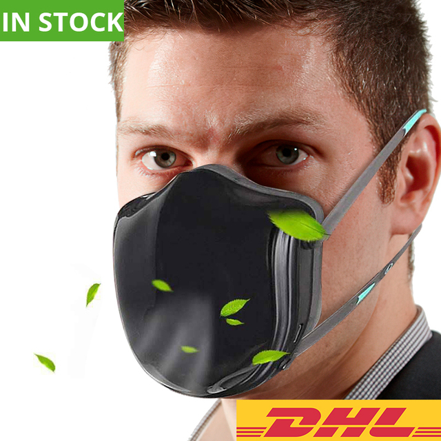 Reusable Smart Electrical Mask Air Black Dusk Face Mask  Flu P2 Mask Anti Dust Pollution Facemask PM 2.5 Respiratory Fliters
