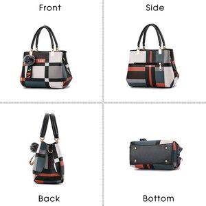 Image 3 - Stickerei Frauen Handtaschen mit Pelz Ball Designer PU Leder Schulter Crossbody tasche Büro Dame Messenger Tote Tasche Weibliche Geldbörse