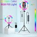 Видео светильник s RGB селфи светодиодный кольцевой светильник с регулируемой яркостью, кольцевая лампа с подставкой штативы ободок светиль...