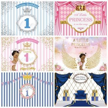 Laeacco Stripes Backdrop Photography Happy Baby 1st Birthday Party Banner Portrait Photography Background Photocall Photo Studio laeacco happy easter day flags chick haystack brick wall home decor scene photography backdrop photo background for photo studio