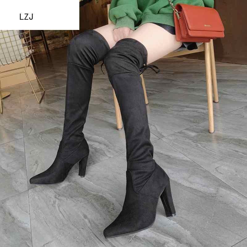 ขนาด 34-43 รองเท้าใหม่ 2019 ผู้หญิงสีดำเข่าเซ็กซี่หญิงฤดูใบไม้ร่วงฤดูหนาว lady ต้นขาสูง botas Mujer สีดำ Booties
