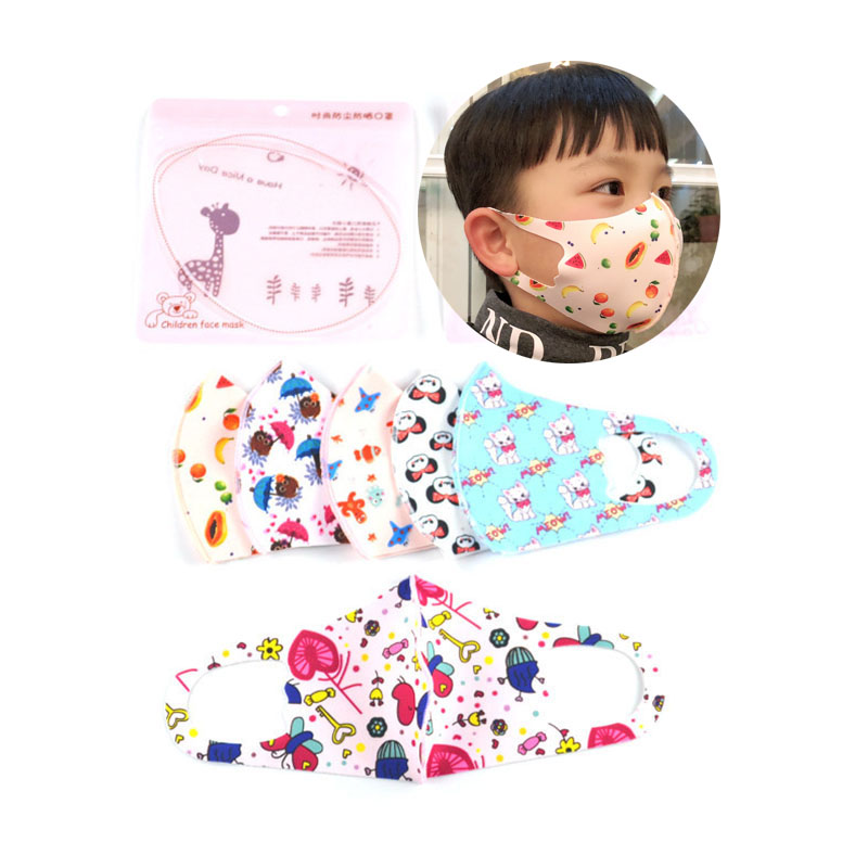 2020 Face Masks Kids Cute Cartoon Cotton Mask Pollution Anti-Dust 3-12 Years Children Mouth Mask Washable Reusable Respirator