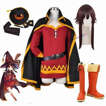 KonoSuba God's Blessing on this Wonderful World Konosuba Megumin Cloak Dress Uniform Outfit Halloween Anime Cosplay Costume Wig 1