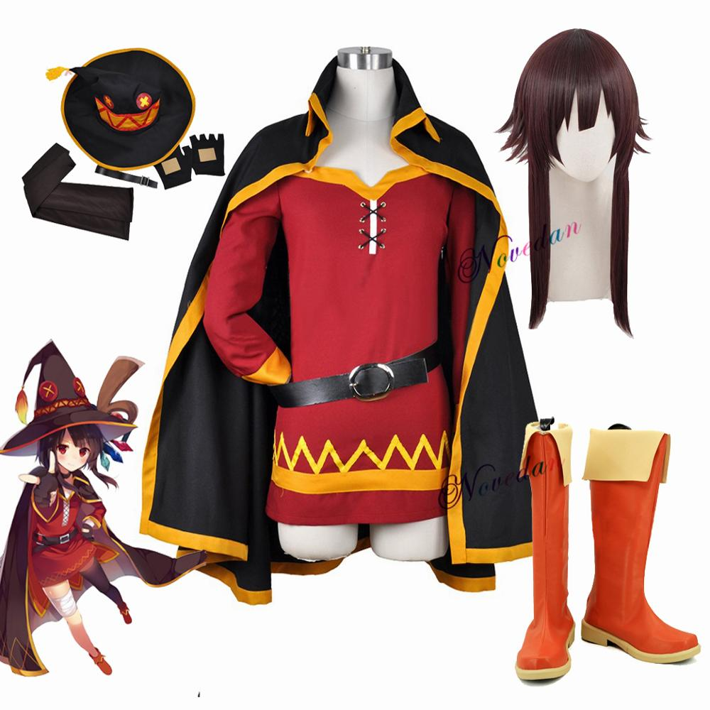KonoSuba God's Blessing on this Wonderful World Konosuba Megumin Cloak Dress Uniform Outfit Halloween Anime Cosplay Costume Wig