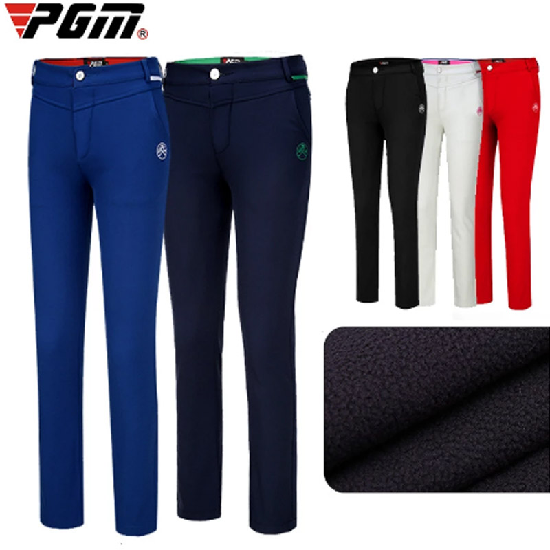 PGM Womens Winter Pants Fleece Golf Pants Woman for cold weather thermal leisure Trousers Woman black female warm fleece pants
