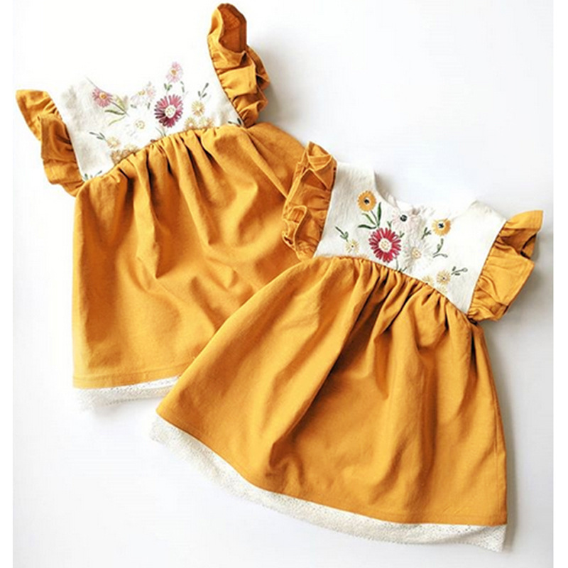 New Embroidered Yellow Princess New born <font><b>Baby</b></font> Clothes <font><b>Dresses</b></font> With Little Flying Sleeve <font><b>Summer</b></font> <font><b>Baby</b></font> Girl <font><b>Dress</b></font> Robe Bebe Fille image