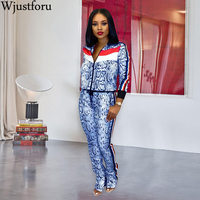 Wjustforu High Fashion Casual Outfits Print Long Sleeve Neck Zip Loose Jacket Top And Skinny Pants Sport Women 2 Piece Set Slim