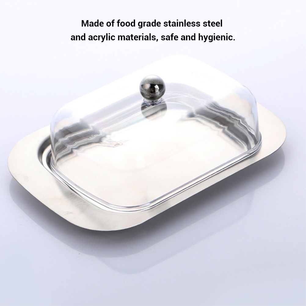 Stainless Steel Butter Dish Box Container Cheese Server Storage Keeper Tray