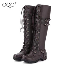 Купить с кэшбэком OQC Women Knee High Boots Autumn Winter Rivet Belt Buckle Lace Up Retro Flat Boots Sexy Punk Ladies Motorcycle Leather Boots D25
