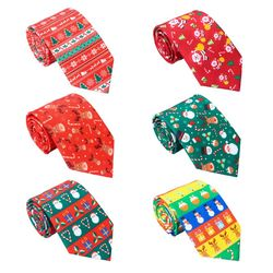 Men Christmas Neckties Novelty Cute Xmas Tree Printed Holiday Party Fun Ties 40JF