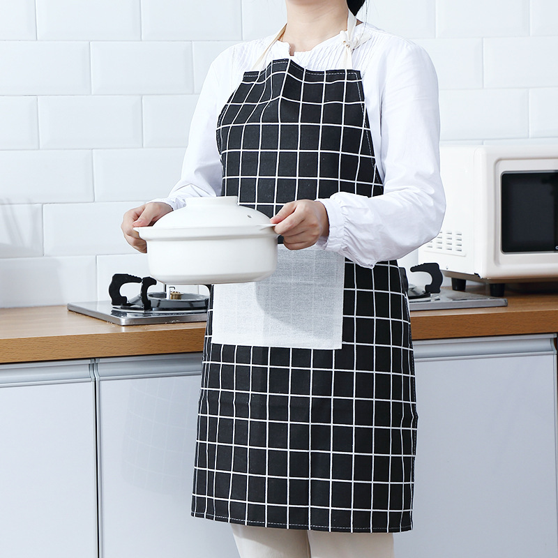 Korean style Fashion Simple Suspender Strap Apron Adult Women's Kitchen Cooking Oil Resistant Overclothes Restaurant Work Antifo|Oversleeves| |  - title=