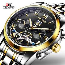 TEVISE Men Automatic Mechanical Wristwatch Luxury Stainless Alloy Waterproof Business Tourbillon Top Brand Relogio Masculino цена и фото