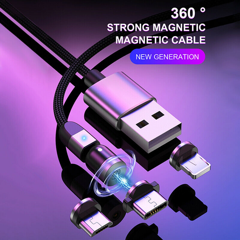2020 New Uslion Magnetic Head Charging Cable 3 In 1 3A Super Fast Charger Cable For IPhone Android Phone Universal Charger Line